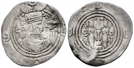 Sassanid Empire. Khusru II. Drachm. RY 25. ML (Marw). (Göbl-II/3). Ag. 2,68 g. Simurgh double countermark left, type Cm 11H. Almost VF/VF. Est...60,00...