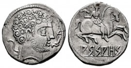 Arsaos. Denarius. 120-80 BC. Area of Navarra. (Abh-139). (Acip-1656). Anv.: Bearded male head to right, in front of dolphin, behind plow. Rev.: Rider ...