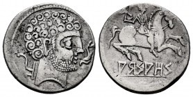 Arsaos. Denario. 120-80 BC. Area of Navarra. (Abh-139). (Acip-1635 var). Anv.: Bearded head right with spiral curls on three levels, before dolphin an...