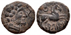 Arsaos. Half unit. 120-80 BC. Area of Navarra. (Abh-149 var). (Acip-unlisted). Anv.: Male head bearded right, ¿behind plow, in front dolphin?. Rev.: H...