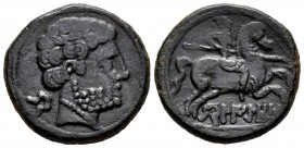 Belikiom. Unit. 120-20 BC. Belchite (Zaragoza). (Abh-243). Anv.: Male head right, behind iberian letter BE. Rev.: Horseman with spear right, below BEL...