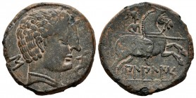 Bilbilis. Unit. 120-30 BC. Calatayud (Zaragoza). (Abh-245). Anv.: Male head right, before dolphin, behind Iberian letter S. Rev.: Horseman with spear ...