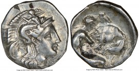 CALABRIA. Tarentum. Ca. 380-280 BC. AR diobol (12mm, 1h). NGC XF. Ca. 325-280 BC. Head of Athena right, wearing crested Attic helmet decorated with fi...