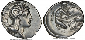 CALABRIA. Tarentum. Ca. 380-280 BC. AR diobol (13mm, 12h). NGC XF, brushed. Ca. 325-280 BC. Head of Athena right, wearing crested Attic helmet decorat...