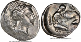 CALABRIA. Tarentum. Ca. 380-280 BC. AR diobol (13mm, 5h). NGC Choice VF, brushed. Ca. 325-280 BC. Head of Athena right, wearing crested Attic helmet d...