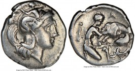 CALABRIA. Tarentum. Ca. 380-280 BC. AR diobol (12mm, 3h). NGC VF. Ca. 325-280 BC. Head of Athena right, wearing crested Attic helmet decorated with fi...