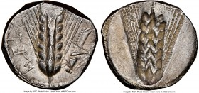 LUCANIA. Metapontum. Ca. 470-440 BC. AR stater (21mm, 7.51 gm, 12h). NGC AU 4/5 - 3/5. META (on left, retrograde), barley ear with eight grains; grass...