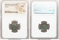MACEDONIAN KINGDOM. Philip II (359-336 BC). AE unit (19mm, 9h). NGC AU. Uncertain mint in Macedonia. Head of Apollo right, wearing taenia / ΦIΛIΠΠOY, ...
