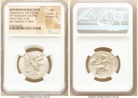 MACEDONIAN KINGDOM. Alexander III the Great (336-323 BC). AR tetradrachm (26mm, 16.57 gm, 12h). NGC AU 5/5 - 2/5. Early posthumous issue of Tyre, date...