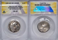 MACEDONIAN KINGDOM. Alexander III the Great (336-323 BC). AR tetradrachm (26mm, 6h). ANACS VG 8. Lifetime (?) issue of uncertain mint, ca. 332-323 BC....