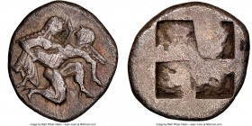 THRACIAN ISLANDS. Thasos. Ca. 500-450 BC. AR drachm (18mm). NGC Choice Fine, scuff. Ca. 500-480 BC. Nude satyr advancing right, carrying off protestin...