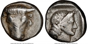 PHOCIS. Phocian League. Federal Issue. Ca. 5th century BC. AR triobol or hemidrachm (12mm, 2.76 gm, 10h). NGC XF 4/5 - 2/5. Head of bull facing / Φ-O-...