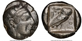 ATTICA. Athens. Ca. 475-465 BC. AR tetradrachm (25mm, 17.17 gm, 2h). NGC VF 5/5 - 3/5, scratch. Head of Athena right with frontal eye and 'archaic smi...
