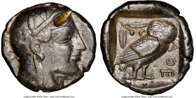 ATTICA. Athens. Ca. 465-455 BC. AR tetradrachm (25mm, 17.18 gm, 4h). NGC VF 5/5 - 2/5, test cut. Head of Athena right, wearing crested Attic helmet or...