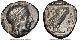 ATTICA. Athens. Ca. 440-404 BC. AR tetradrachm (25mm, 17.16 gm, 4h). NGC Choice AU 5/5 - 4/5. Mid-mass coinage issue. Head of Athena right, wearing cr...