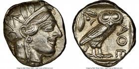 ATTICA. Athens. Ca. 440-404 BC. AR tetradrachm (24mm, 17.18 gm, 8h). NGC Choice AU 5/5 - 3/5, scratch. Mid-mass coinage issue. Head of Athena right, w...
