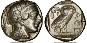 ATTICA. Athens. Ca. 440-404 BC. AR tetradrachm (24mm, 17.22 gm, 11h). NGC Choice AU 4/5 - 4/5, brushed. Mid-mass coinage issue. Head of Athena right, ...