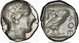 ATTICA. Athens. Ca. 440-404 BC. AR tetradrachm (25mm, 17.18 gm, 7h). NGC AU 4/5 - 5/5. Mid-mass coinage issue. Head of Athena right, wearing crested A...