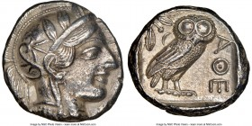 ATTICA. Athens. Ca. 440-404 BC. AR tetradrachm (24mm, 17.11 gm, 4h). NGC AU 5/5 - 3/5. Mid-mass coinage issue. Head of Athena right, wearing crested A...