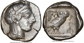 ATTICA. Athens. Ca. 440-404 BC. AR tetradrachm (25mm, 17.19 gm, 3h). NGC AU 5/5 - 3/5. Mid-mass coinage issue. Head of Athena right, wearing crested A...