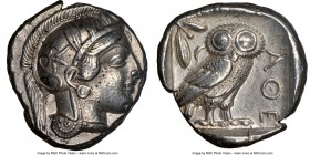 ATTICA. Athens. Ca. 440-404 BC. AR tetradrachm (24mm, 17.15 gm, 8h). NGC Choice XF 4/5 - 4/5. Mid-mass coinage issue. Head of Athena right, wearing cr...