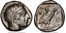 ATTICA. Athens. Ca. 440-404 BC. AR tetradrachm (23mm, 17.20 gm, 1h). NGC Choice XF 5/5 - 3/5, brushed. Mid-mass coinage issue. Head of Athena right, w...