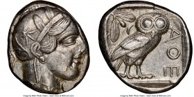 ATTICA. Athens. Ca. 440-404 BC. AR tetradrachm (24mm, 17.16 gm, 2h). NGC Choice XF 4/5 - 3/5, brushed. Mid-mass coinage issue. Head of Athena right, w...