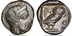 ATTICA. Athens. Ca. 440-404 BC. AR tetradrachm (23mm, 17.17 gm, 12h). NGC Choice XF 3/5 - 4/5. Mid-mass coinage issue. Head of Athena right, wearing c...