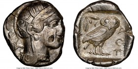 ATTICA. Athens. Ca. 440-404 BC. AR tetradrachm (25mm, 17.12 gm, 7h). NGC Choice XF 2/5 - 4/5, flan flaw. Mid-mass coinage issue. Head of Athena right,...