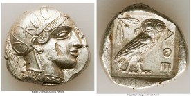 ATTICA. Athens. Ca. 440-404 BC. AR tetradrachm (26mm, 17.17 gm, 5h). AU, flan flaw. Mid-mass coinage issue. Head of Athena right, wearing crested Atti...