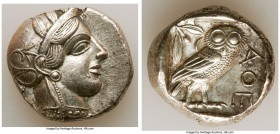 ATTICA. Athens. Ca. 440-404 BC. AR tetradrachm (25mm, 17.18 gm, 5h). Choice XF. Mid-mass coinage issue. Head of Athena right, wearing crested Attic he...