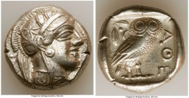 ATTICA. Athens. Ca. 440-404 BC. AR tetradrachm (24mm, 17.16 gm, 2h). XF. Mid-mass coinage issue. Head of Athena right, wearing crested Attic helmet or...