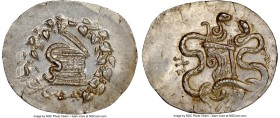 MYSIA. Pergamum. Roman Rule (ca. 180/167-133 BC). AR cistophorus (33mm, 12.68 gm, 11h). NGC MS 4/5 - 3/5. Struck ca. 160-150 BC. Serpent emerging from...