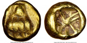 IONIA. Uncertain mint. Ca. 600-550 BC. EL 1/24 stater or myshemihecte (5mm, 0.58 gm). NGC Choice VF 5/5 - 4/5. Lydo-Milesian standard. Paw of lion / P...