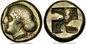 IONIA. Phocaea. Ca. 477-388 BC. EL sixth-stater or hecte (10mm, 2.55 gm). NGC AU S 5/5 - 5/5, Fine Style. Female head left, hair bound in netted sacco...
