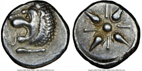 CARIAN SATRAPS. Hecatomnus (ca. 395/1-377 BC). AR drachm (16mm). NGC Choice VF S. Head of roaring lion left, extended foreleg below / Stellate pattern...