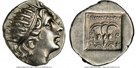 CARIAN ISLANDS. Rhodes. Ca. 88-84 BC. AR drachm (16mm, 11h). NGC Choice AU. 'Plinthophoric' coinage, Menodorus, magistrate. Radiate head of Helios rig...
