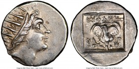 CARIAN ISLANDS. Rhodes. Ca. 88-84 BC. AR drachm (15mm, 12h). NGC AU. Plinthophoric standard, Euphanes, magistrate. Radiate head of Helios right / EYΦA...