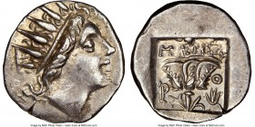 CARIAN ISLANDS. Rhodes. Ca. 88-84 BC. AR drachm (15mm, 11h). NGC AU. Plinthophoric standard, Maes, magistrate. Radiate head of Helios right / MAHΣ, ro...