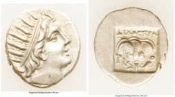 CARIAN ISLANDS. Rhodes. Ca. 88-84 BC. AR drachm (15mm, 1.92 gm, 12h). About XF. Plinthophoric standard, Philostratus, magistrate. Radiate head of Heli...