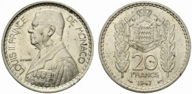 Monaco. 20 francs 1947 Coppernickel