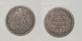 United States, Liberty seated one Dime 1876 CC Carson City Ag 2,36g