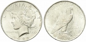 United States. Peace Dollar 1922 Ag.26,74g SPL+ colpetto al bordo