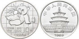 China - Volksrepublik: 10 Yuan 1989, China Pandabär 1 OZ Silber. KM# A221. Feinstes stempelglanz.