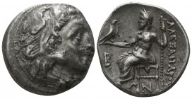 "Kings of Macedon. Kolophon. Alexander III ""the Great"" 336-323 BC, (struck under Antigonos I Monophthalmos, ca. 310-301 BC).. Drachm AR"