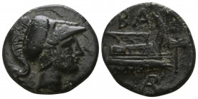 Kings of Macedon.  Uncertain mint, possibly in Caria. Demetrios I Poliorketes 306-283 BC. 1/2 Unit AE