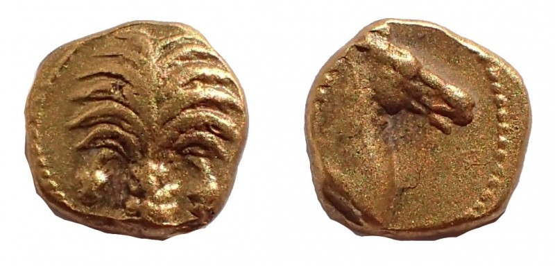 Zeugitania. Carthage 350-320 BC. 1/10 gold Stater Au 7 mm. 0.7 gm. Obv: Palm tre...