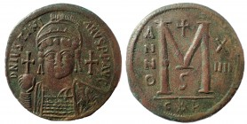Justinian I. 527-565. Æ Follis 38 mm. 22.6 gm. Carthage mint, 6th officina. Dated RY 14 (540/1)