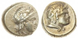 Greece Lesbos Mytilene 1 Hekte (377-326BC). Averse: Head of Dionysos right wearing ivy wreath. Reverse: Horned and draped bust of Pan right wearing iv...