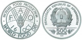 Afghanistan 500 Afghanis 1981 World Food Day. Averse: National arms. Reverse: FAO. Silver. KM 1002